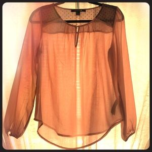Sheer long sleeve top with button details